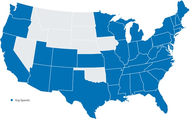 Map of America where Gig speeds available