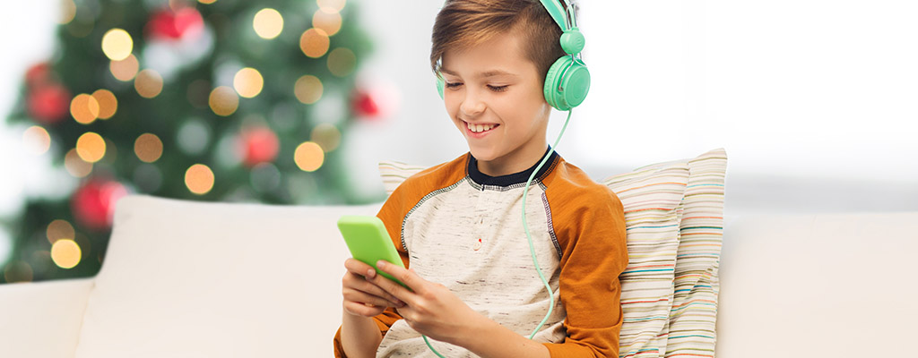 boy with phone on christmas