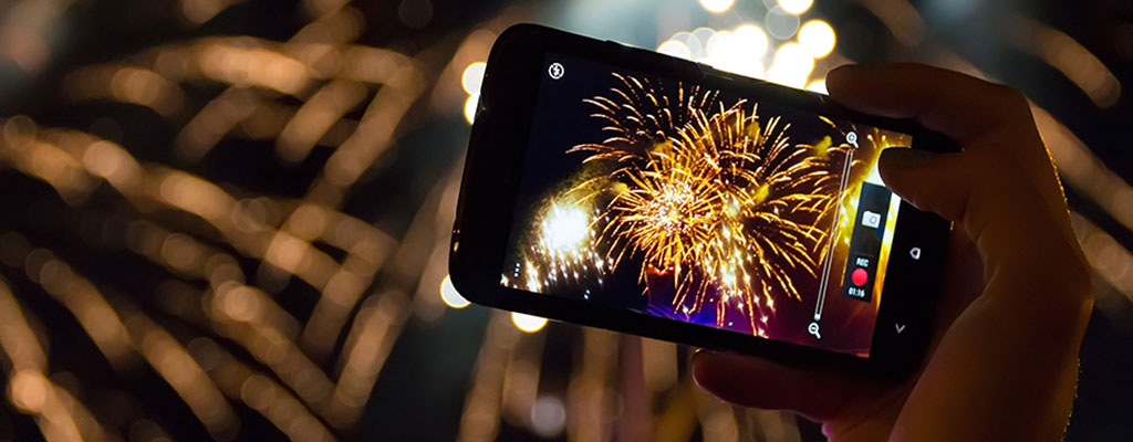 Phone Photographing Fireworks