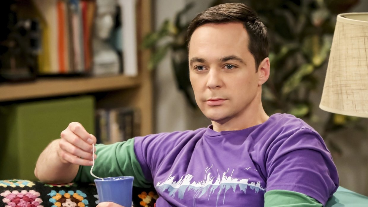 Sheldon Cooper Sips Coffee