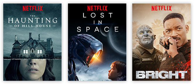 netflix - the haunging of hill house, lost in space, bright
