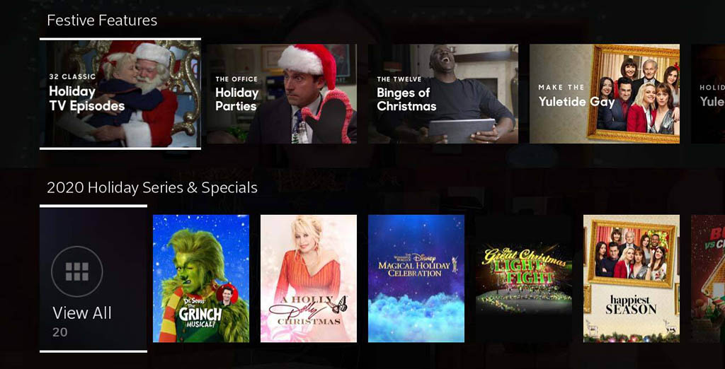 Holiday TV on X1 UI