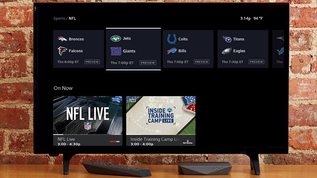 NFL UI en XfinityX1
