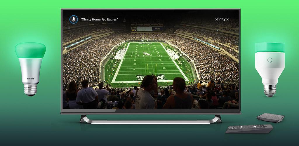 Ejemplo de luces de NFL con Xfinity Home