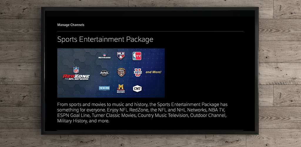 Xfinity Sports Entertainment Package UI