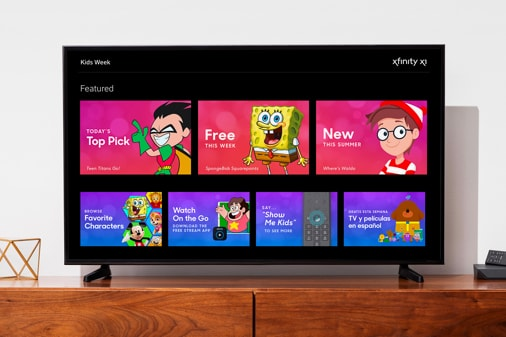 Xfinity Kid Zone dashboard on a TV