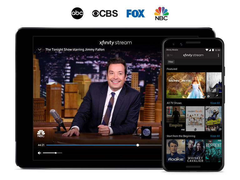 Tablet and phone with TV shows on the display