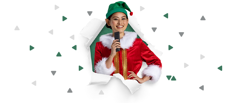 Elf holding Voice Remote