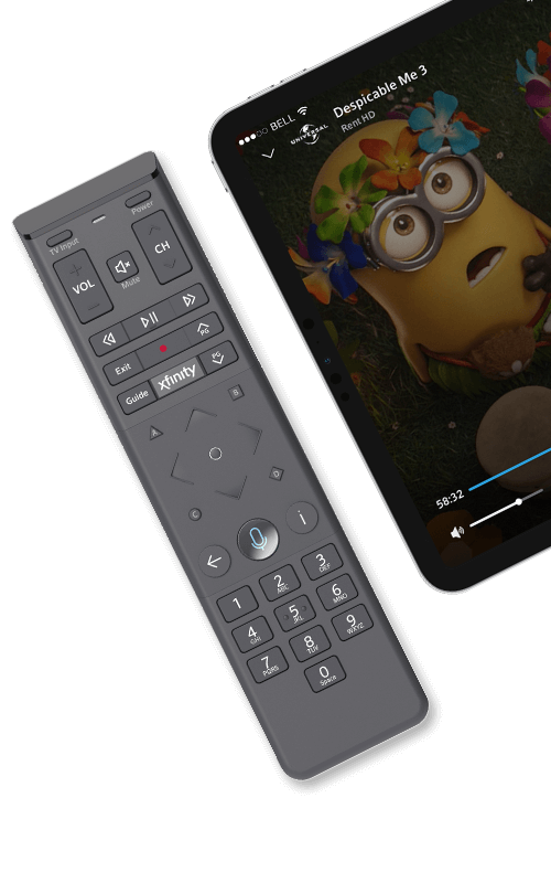 Xfinity Voice Remote and Minions displayed on tablet