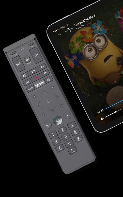 Control remoto por voz de Xfinity y Minions en tableta
