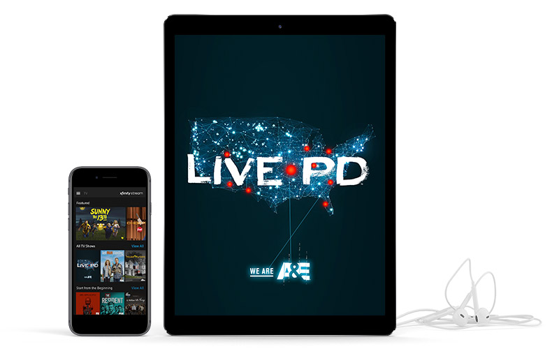 "List of shows displayed on smart phone and ""Live PD"" displayed tablet next to earbuds"