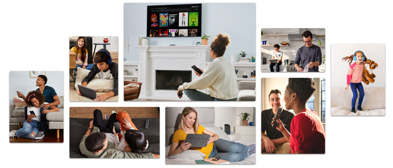 Collage of people on devices