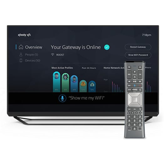 Xfinity Internet information displayed on TV behind X1 Remote