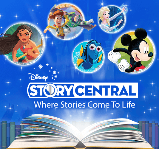 Open book with Disney characters and Story Central logo