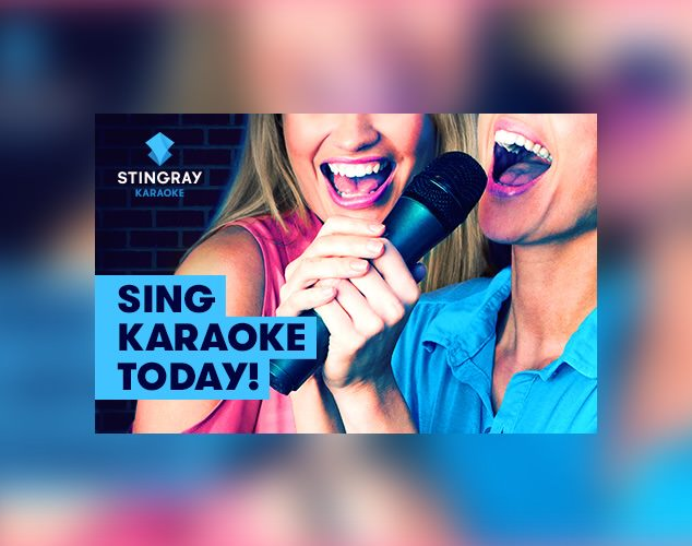 Stingray Karaoke logo in front of two people singing karaoke