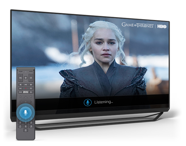 X1 screen showing Game of Thrones character and X1 voice remote