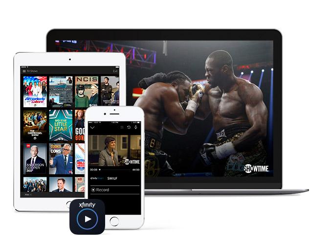 Imágenes de boxeo en la laptop y otros programas de Showtime en la tableta y el teléfono