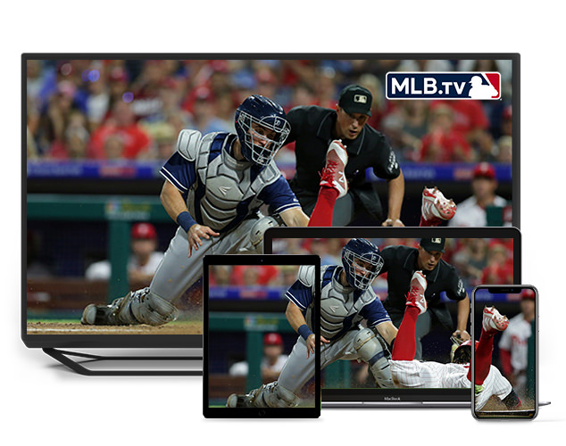 MLB TV mostrado en smartphone, laptop, tablet y TV
