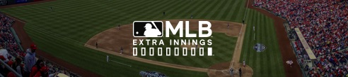 Logotipo de MLB extra innings frente a imagen de un campo de pelota