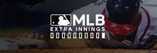 Logotipo de MLB extra innings sobre la imagen de un beisbolista