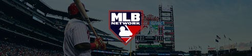 MLB Network logo in front of player holding bat in stadium