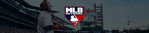 Logotipo de MLB Network frente a pelotero con bate en mano en el parque de pelota