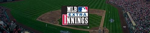Logotipo de MLB Extra Innings sobre el parque de pelota