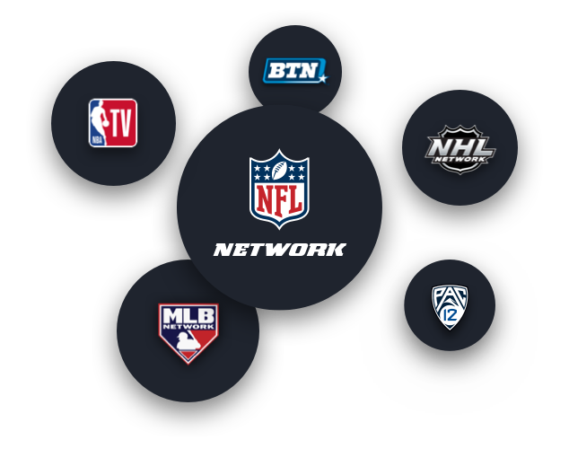 Sport Channel logos for NBA TV, NFL Network, Big Ten Network, Pac 12 Network, MLB Network, NHL Network
