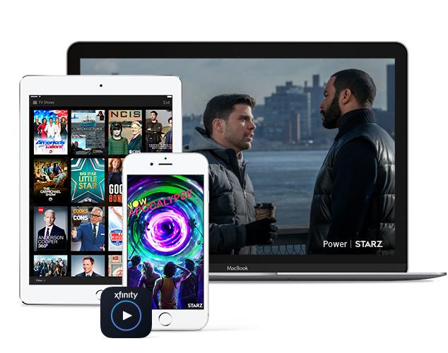 Teléfono celular, tableta y laptop mostrando varias pantallas con shows de Starz