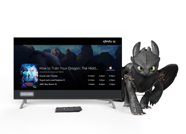 TV next to a dragon from How to Train Your Dragon