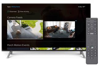 televisión, con video de la cámara de home security