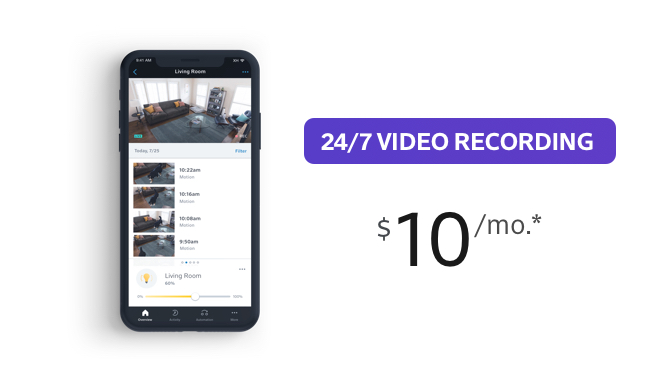 24/7 Video Recording $10 per month
