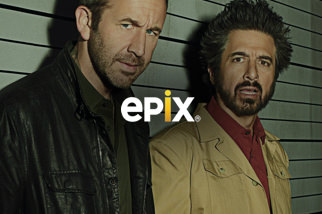 Epix logo with a show image in the background