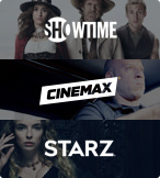 Showtime, Cinemax, and Starz logos with show characters in the background