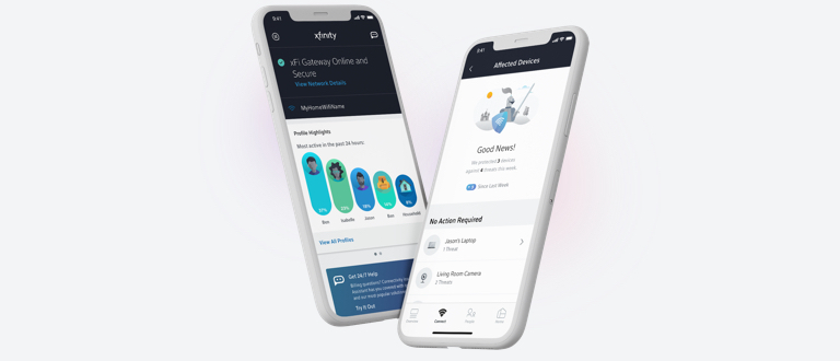 Two mobile phones with Xfinity app