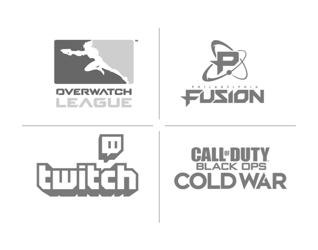 Overwatch League, Fusion, Twitch, and Call of Duty Logos