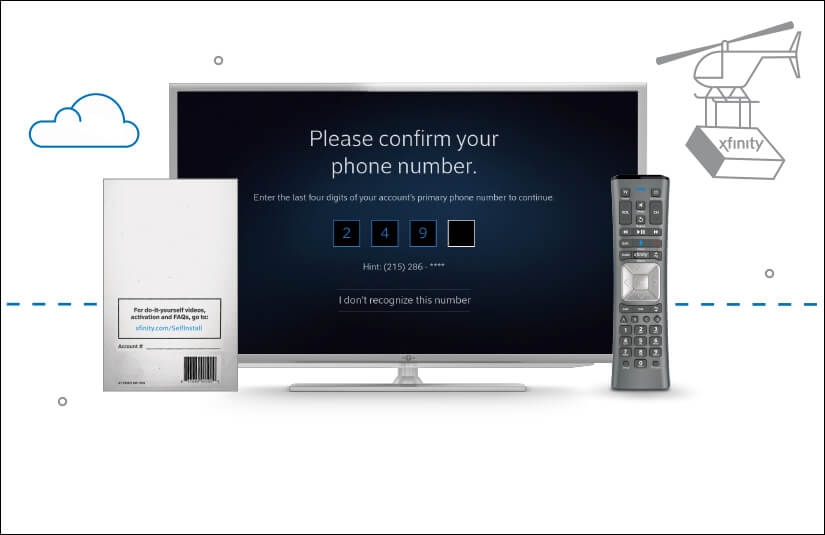 Step-by-step activation instruction. Xfinity X1 activation guide and voice remote with X1 confirmation screen on TV.