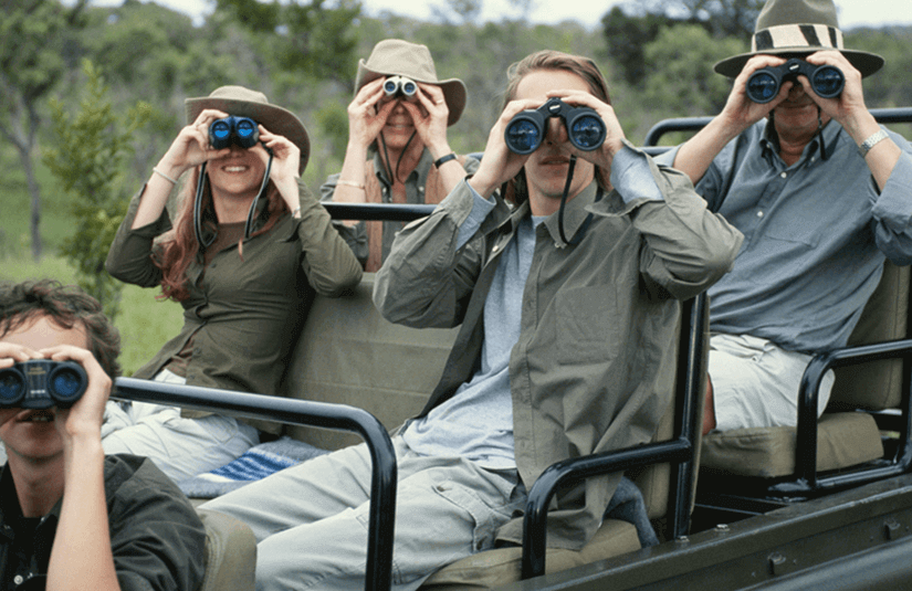 4 people on safari looking through binoculars