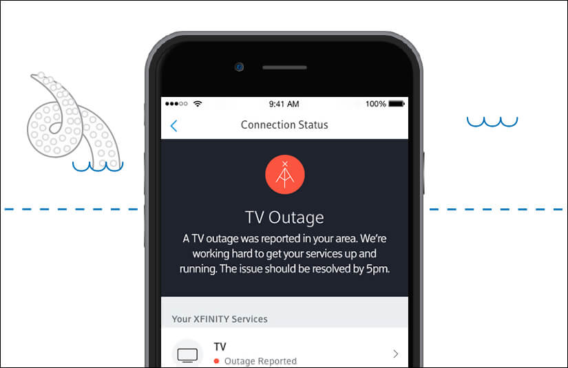 Step-by-step outage instruction. Mobile phone showing a TV outage as the connection status.