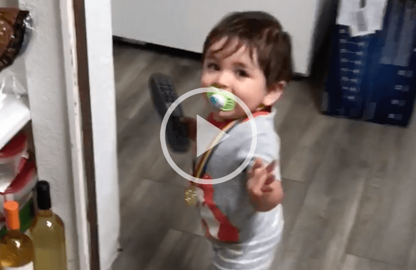 Baby running away with remote control